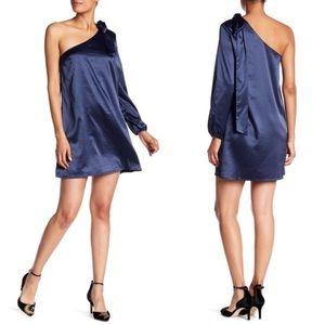 NSR Navy Silk Charmeuse One Shoulder Dress Medium